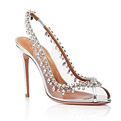Stilettos Heels With Fish Nozzles Rhinestones Sandals