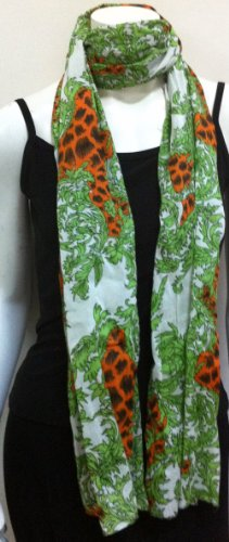 Long Full Size Scarf Jungle Cheetah Safari Print 100% Cotton, Cool Summer Accessory, Neck Wear Wrap, Great Affordable Gift for Girls Women Ladies]()