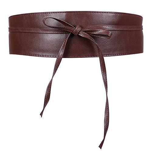 JASGOOD Women¡¯s Fashion Leather Obi Style Belt,Wide Wrap Waist Band Chic Belt,Coffee,Fit Waist Size 38-43 Inch (B Low The Belt Mia Wrap Belt)