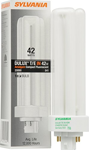 Sylvania 20890 - CF42DT/E/IN/841 - 42 Watt Triple Tube Compact Fluorescent Light Bulb, (Tube Pl 10000 Hour Compact)