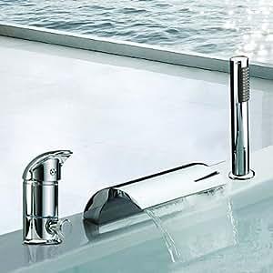 Dos contemporáneo cromado generalizada toreinforced cascada bañera grifos de la ducha de mano con