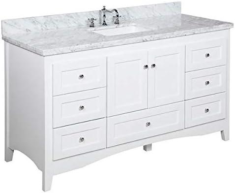 Amazon Com Abbey 60 Inch Single Bathroom Vanity Carrara White