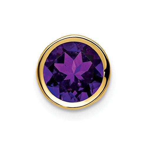 14k Yellow Gold 7mm Purple Amethyst Bezel Pendant Charm Necklace Slide Chain Gemstone Fine Jewelry Gifts For Women For Her