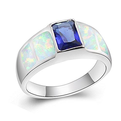 Sapphire Silver Plated Ring - Sinlifu Australian Fire Opal Ring Topaz Sapphire Silver Plated Jewelry for Women