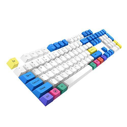 Keycaps Havit PBT Keycaps 61 87 104 Keys Gaming Keycap Set with Puller for DIY Cherry MX Mechanical Keyboard(White & Blue &Yellow)