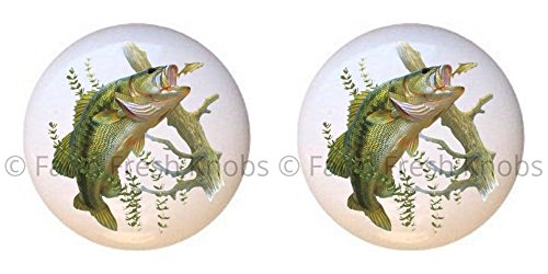 SET OF 2 KNOBS - Gone Fishing Fish - Critters Animals - DECORATIVE Glossy CERAMIC Cupboard Cabinet PULLS Dresser Drawer KNOBS