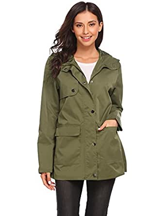 7570a841de5 Image Unavailable. Image not available for. Color  Vansop Womens  Lightweight Raincoat Hooded Waterproof Active Outdoor Rain Jacket(Army ...