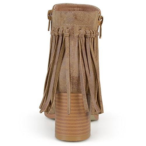 Journee Collection Mujeres Faux Leather Fringe Botas Castaño
