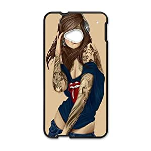 HTC One M7 Cell Phone Case Black Illustrated Tattooed Sexy Rolling Stones FXS_678019