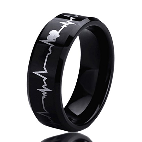Personalized Wedding Band Ring (Free Engraving Personalized Titanium Comfort Fit Wedding Band Ring 8mm Forever Love Heartbeat Black Ring)