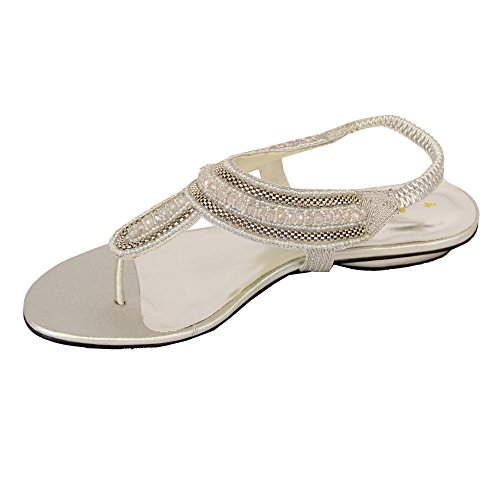 Ladies Sandals Womens Diamante Slip On Shoes Thong Toe Post Bridesmaids Summer Silver - Sh3281 TtHuIx