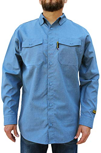 Benchmark FR Silver Bullet, 5.1 oz Ultra Lightweight FR Shirt, NPFA 2112 & CAT 2, Moisture Wicking, Men's FRC with 9 Cal rating, Made in USA, Advanced FR Materials, Light Blue, L Tall by Benchmark FR (Image #1)