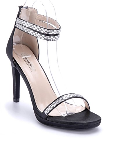7aff186ae17620 Schuhtempel24 Damen Schuhe Sandaletten Sandalen Stiletto Ziersteine 10 cm  High Heels Schwarz
