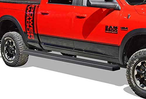 APS iBoard Running Boards (Nerf Bars Side Steps) Compatible with 2009-2018 Ram 1500 Crew Cab Pickup 5.5ft Short Bed & 2010-2019 Ram 2500 3500 (Black Powder Coated 5 inches Wheel to Wheel) 2500 Crew Cab Short