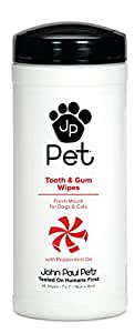 "John Paul Pet JPPW05 Clean Mouth Tooth and Gum Pet Wipes for Dogs and Cats, Infused with Peppermint Oil, 7"" x 7"" Sheets in 45-Count Dispenser"