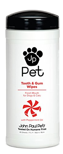 (John Paul Pet Tooth and Gum Pet Wipes for Dogs and Cats, Infused with Peppermint Oil, 7