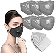 6PC Face Bandanas Cotton with Breathing valve With 12pcs Activated Carbon Filter Replaceable Filters Haze Dust