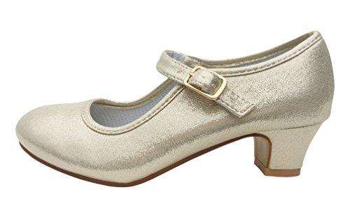 La Senorita Prinzessinnen Schuhe Gold Perle Elsa Frozen Spanische Flamenco Schuhe Gold