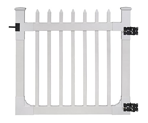 WamBam Nantucket Vinyl Picket Gate with Stainless Steel Hardware, 48