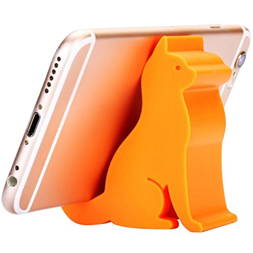 Plinrise Super Cute Phone Holder, Mini Cat Shaped Silica Gel Cellphone Stand, Animal Phone Mount for All Cellphone Free Your Hands (Orange)