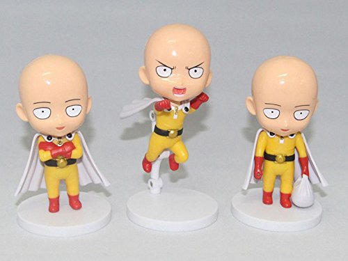 NEW Japan Anime One Punch-Man Saitama Hero PVC Q Version Figure Toy 3pcs 12cm high