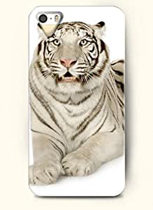 OOFIT phone case design with Cute White Tiger for Apple iPhone 4 4s
