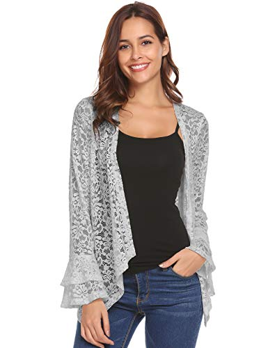 - Concep Lace Crochet Kimono Cardigan Beach Wear Cover Up Bell Sleeve Bolero Shrug Jackets (Grey, L)