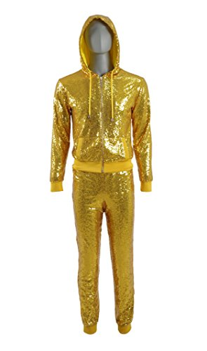 Dance Costumes Custom Made (Men's Golden Glitter Sequin Hoodie and Pants Dancing Outfit Movie Costume (Custom-made, Golden))