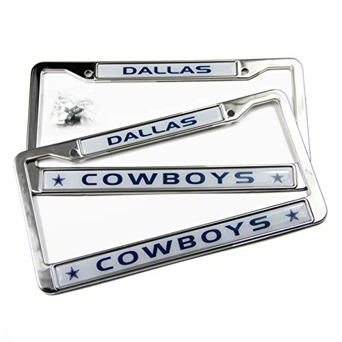 MT-Sports Store Football Team 2 Pcs 4 Holes Car Licenses Plate Frames Stainless Steel (Dallas Cowboys) (Frame Dallas Chrome Cowboys)