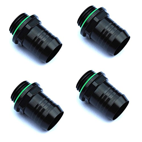 """Bitspower G1/4"""" to 1/2"""" Barb Fitting for Soft Tubing, Matte Black, 4-pack"""