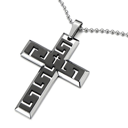 COOLSTEELANDBEYOND Stylish Mens Cross Pendant Necklace Stainless Steel with Greek Key Pattern and 30 in Ball Chain