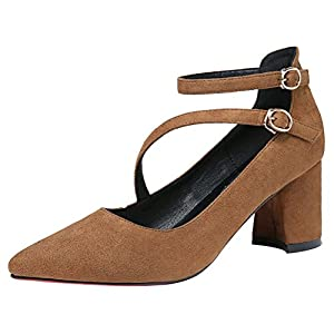 T&Mates Womens Elegant Pointed Toe Cutout Ankle Strap Buckle Chunky Heel Suede Pumps (8.5 B(M)US,Khaki)