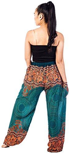 Unica Pants Funky Donna Rose Lofbaz Verde Pantaloni Pavone Harem Verdure Taglia Da Coulisse 1 Floral qwUSUvp8
