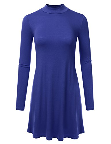 NINEXIS Women's Long Sleeve Mock Neck Dress ROYAL M