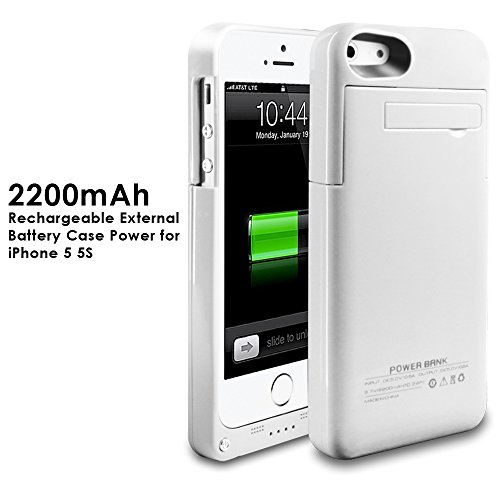 2200mAh Extended Battery condition Back Up strength Bank for iPhone 5 / 5S Back Up (iOS 7 or above Compatible) + Lightning Charging Port + Kick bear + tiny suit Slider type + entire Body Protection + On/Off Switch LED Battery top quality Indicator (White)