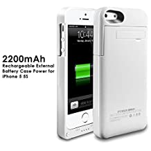 2200mAh Extended Battery Case Back Up Power Bank for iPhone 5 / 5S Back Up (iOS 7 or above Compatible) + Lightning Charging Port + Kick Stand + Slim Fit Slider Design + Full Body Protection + On/Off Switch LED Battery Level Indicator (White)