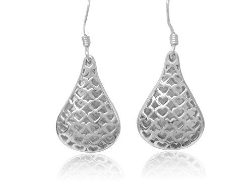 (Ritastephens 925 Sterling Silver Filigree Lace Heart Teardrop Kidney Wire Dangle Earrings)
