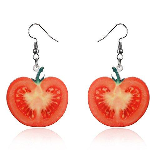 Trendy Statement Creative Funny Lifelike Fruits Acrylic Earrings for Women/Girl's (Tomato)