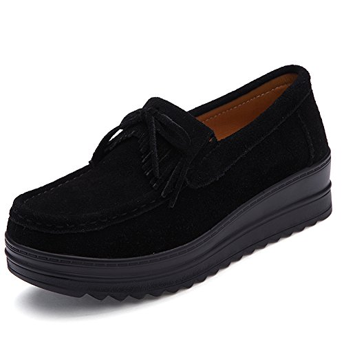 HKR Women Tassel Platform Loafers Suede Moccasins Comfort Slip On Wide Width Work Shoes