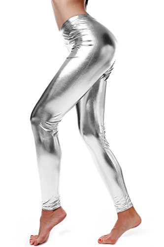 Liquid Wet Look Shiny Metallic Stretch Leggings (S, Silver) (Silver Leather Liquid)