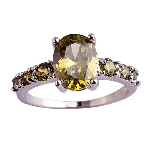 Humasol 925 Sterling Silver Filled Oval Cut Lab-Created Peridot Promise Band Engagement Ring for Women ()