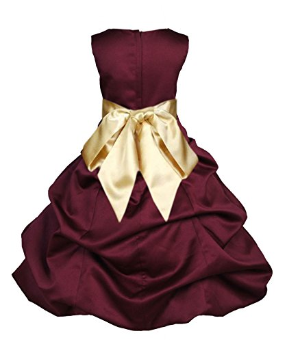 Wedding Pageant Burgundy Pick-up Flower Girl Dress Recital Toddler 806s (Pickup Ball Gown)