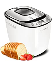 CROWNFUL Automatic Bread Machine, 2LB Programmable Bread Maker with Nonstick Pan and 12 Presets, 1 Hour Keep Warm Set , 2 Loaf Sizes, 3 Crust Colors, Recipe Booklet Included, ETL Listed (White)