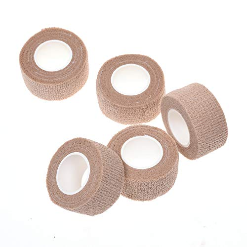 - COSMOS 5 Rolls Elastic Self Adhesive Bandage Finger Tape, 1 Inch Wide