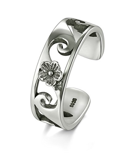Flower Adjustable Toe Ring (925 Sterling Silver Toe Ring, BoRuo Plumeria Flower Hawaiian Adjustable Band Ring)