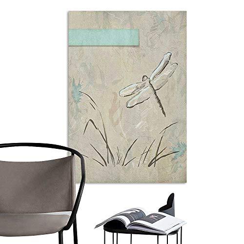 (Waterproof Art Wall Paper Poster Dragonfly Romantic Vintage Sketch in Pastel Grass Birthday Grunge Grass Botany Artwork Seafoam Tan Art Mural Decals W24 x H36)