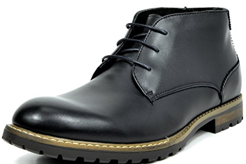 Bruno Marc Men's Philly-1 Black Leather Lined Oxfords Dress Ankle Boots - 8.5 M US