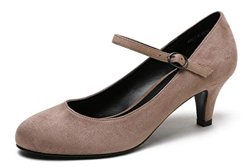 CAMSSOO Women's Closed Toe Low Mid Heel Ankle Strap Dress Pump Shoes Beige Velveteen Size US8 ()