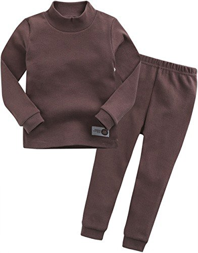 Price comparison product image Ollie Arnes Baby Unisex 100% Cotton Long Sleeve T + Pant Combo Set(12-24M to 7T) 40_BROWN 3T