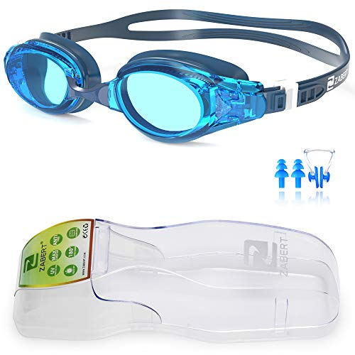 ZABERT Swim Goggles, W5 Blue Pro Swimming Goggles for Women Men Youth Adult Kids Girls Boys - Clear Lens Anti Fog UV Protection Quick Adjust Large Size Wide View - Indoor Open Water